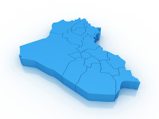3d map Iraq with regions