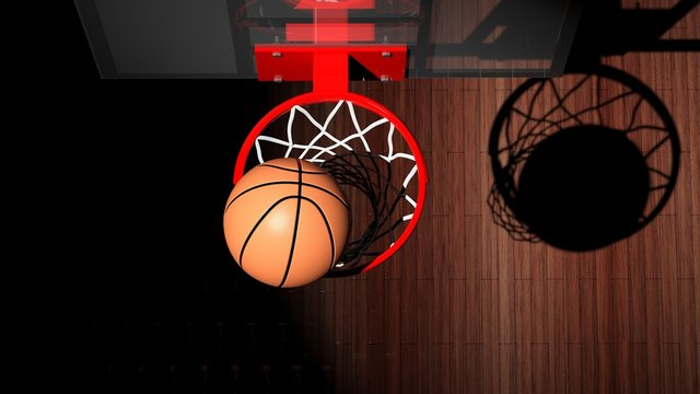 Basketball hoop with ball inside top view