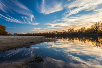 landscape sunset on the river