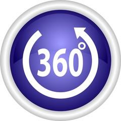 Круглая векторная иконка с надписью 360 градусов