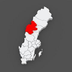 Map of Jamtland. Sweden.