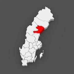 Map of Vasternorrland. Sweden.