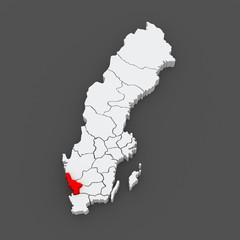 Map of Halland. Sweden.