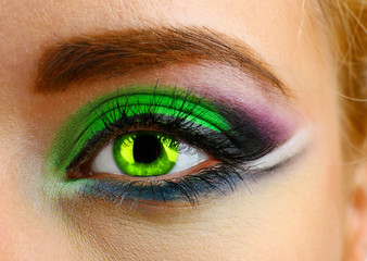 Beautiful eye with bright make-up, close up