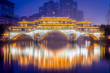 Chengdu, China at Anshun Bridge