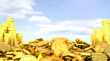gold coins on the background of sky. easy Money