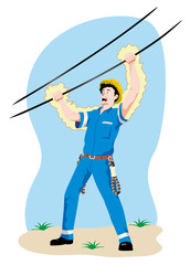 Individual employee being electrocuted