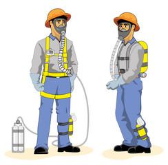 Individual employee using gas equipment