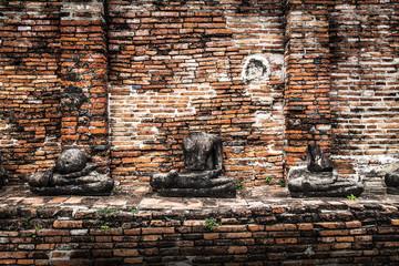 Buddha image at Wat Mahathat(Temple),Ayutthaya,Thailand.Unesco