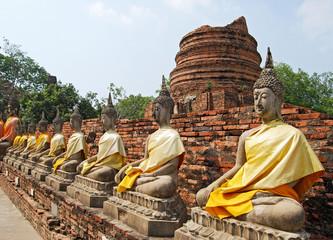 buddhas image in wat mahathat, ayutthaya, thailand