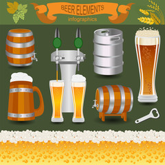 Beer infographics, set elements, for creating your own infograph