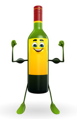 Wine Bottle Character with bodybuilding