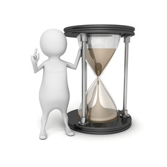 3d white person with sand hourglass