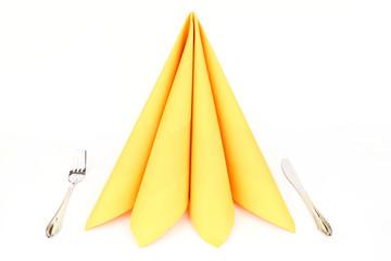 Folded napkin on the white background