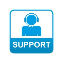 Etiqueta tipo app azul SUPPORT