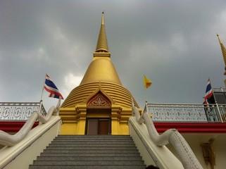 buddhism stupas with nearly raining background