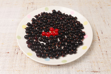 Black and red currants in a bowl