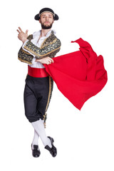 Male dressed as matador on a white background