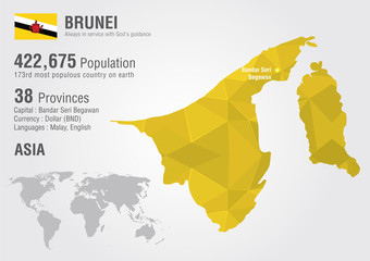 Wall Mural - Brunei world map with a pixel diamond texture. World Geography