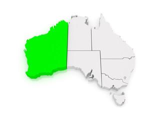 Map of Western Australia. Australia.