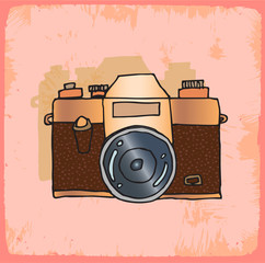 Cartoon old photo camera illustration