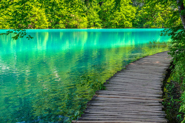 Foto op Plexiglas Groene koraal Pond at Plitvice Lakes National park in Spring
