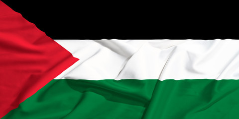 Palestine flag on a silk drape waving