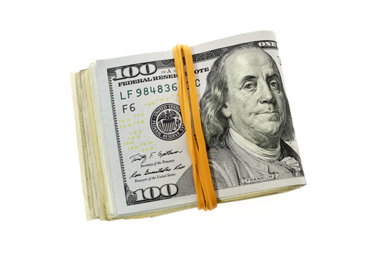 Folded Stack Of Hundred Dollars Bills