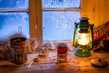 Wall Mural - Hot tea in cold winter day