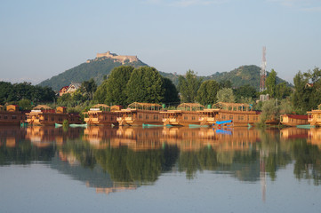 Beautiful houseboat at Dal Lake  in Srinagar, Kashmir, India
