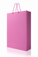 Pink shopping bag, isolated with clipping path on white