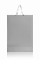 Grey shopping bag, isolated with clipping path on white backgrou
