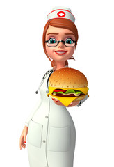 Young Nurse with burger