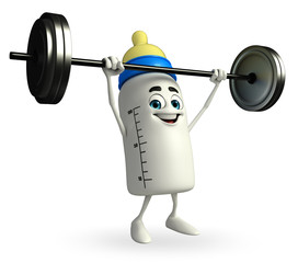 Baby Bottle character with dumbbells