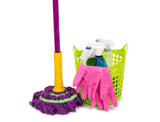 Mop, plastic bucket and rubber gloves