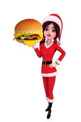 Santa Girl Character with burger