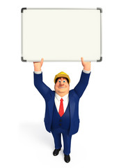 Young Business Man with display board