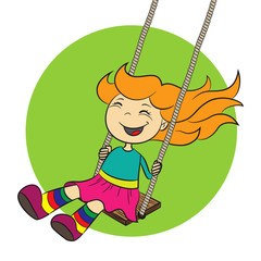 vector illustration of a girl who is swinging