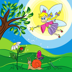 vector illustration of a fairy throwing a magic powder to nature