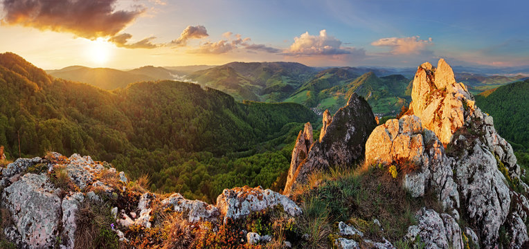 Rocky moutain at sunset - Slovakia