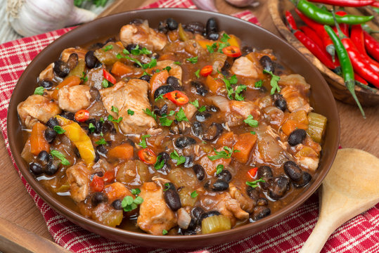 chili with black beans and chicken, top view