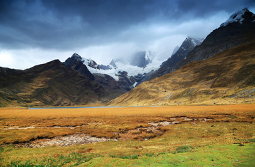 Stormy clouds over Cordiliera Huayhuash, Peru, South America