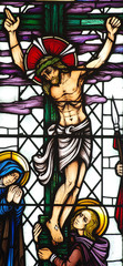 Jesus Christ crucified in stained glass