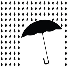 Black umbrella with black rain. Raster