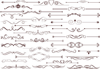 Set of  calligraphic elements for editable and design