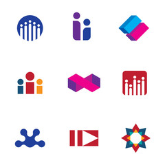 Abstract social community people logo set forum icon vector
