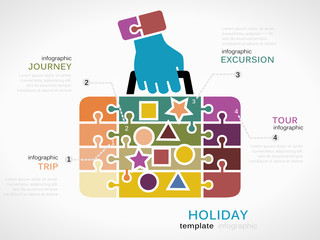 Holiday concept infographic template with stamped suitcase