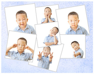 asian boy 6 years, collage of different emotions