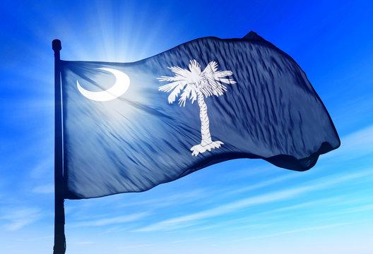 South Carolina (USA) flag waving on the wind