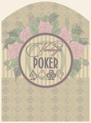 Vintage poker label, vector